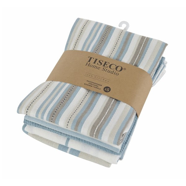 Komplet 5 niebieskich bawełnianych ścierek Tiseco Home Studio, 50x70 cm