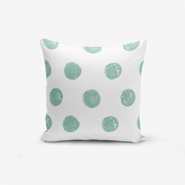 Față de pernă cu amestec din bumbac Minimalist Cushion Covers Mind Green With Points, 45 x 45 cm