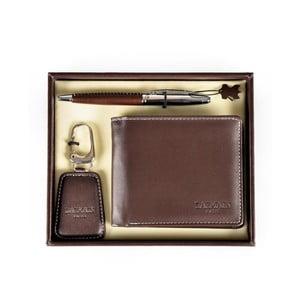 Set pera, klíčenky a hnědé koženkové peněženky Balmain Ballpoint