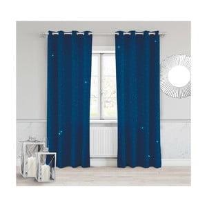Tmavě modrý závěs Slowdeco Dots, 140 x 250 cm