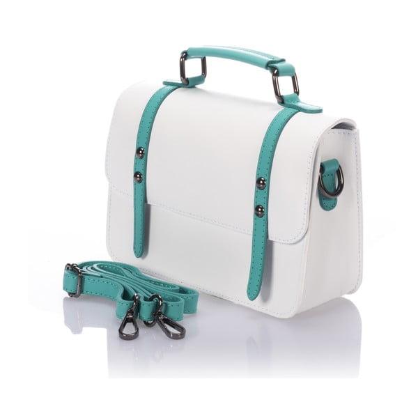 Bílá kožená kabelka Lisa Minardi Cristel Green
