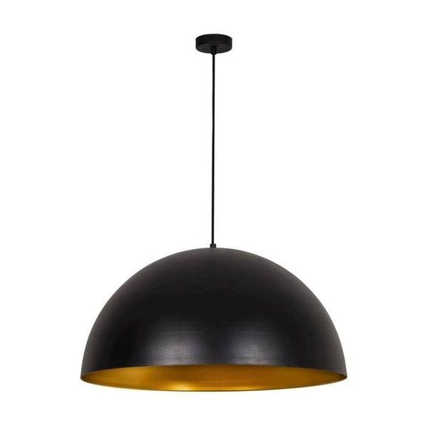 Čierne závesné svietidlo s detailom v zlatej farbe Hill Rondo Grande