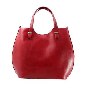 Červená kožená kabelka Chicca Borse Denisse