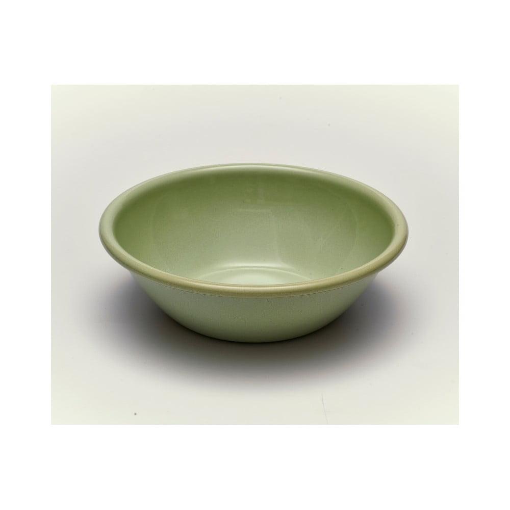 Zelená smaltovaná miska Kapka Back To Basics, Ø19cm