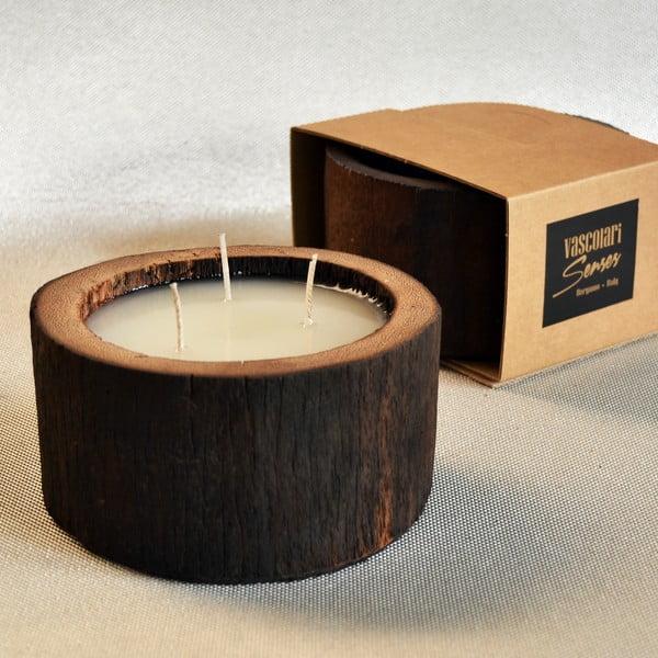 Palmová svíčka Legno Cera s vůní vanilky a pačuli, 40 hodin hoření