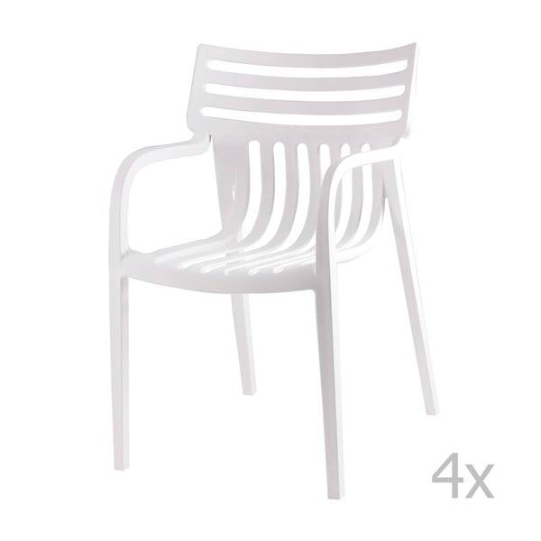 Sada 4 bielych jedálenských stoličiek sømcasa Rodie