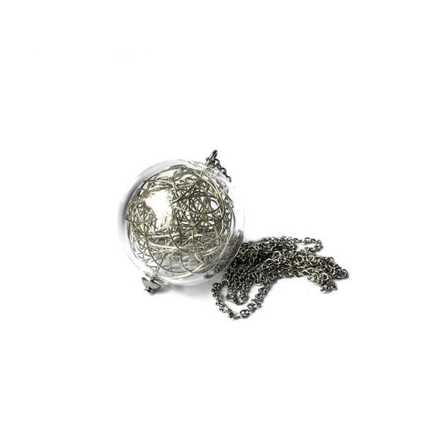 Wired Long ezüstszínű üveg nyaklánc - Ko-ra-le