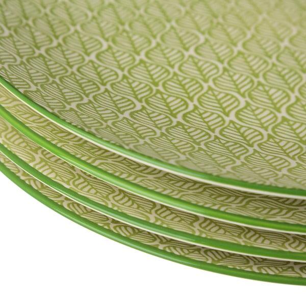 Zelenobílý porcelánový talíř Unimasa Leaf