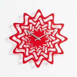 Nástěnné hodiny Flux, červené