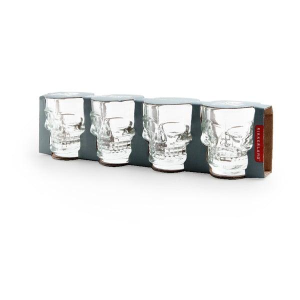 Set 4 pahare pentru băuturi spirtoase Kikkerland Skull, 30 ml