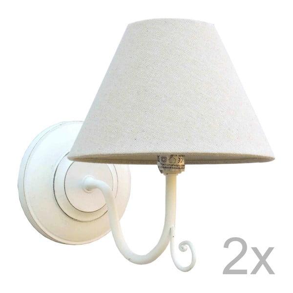 Sada 2 bílých nástěnných světel Bolzonella