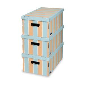 Sada 3 úložných boxů Domopak Stripes