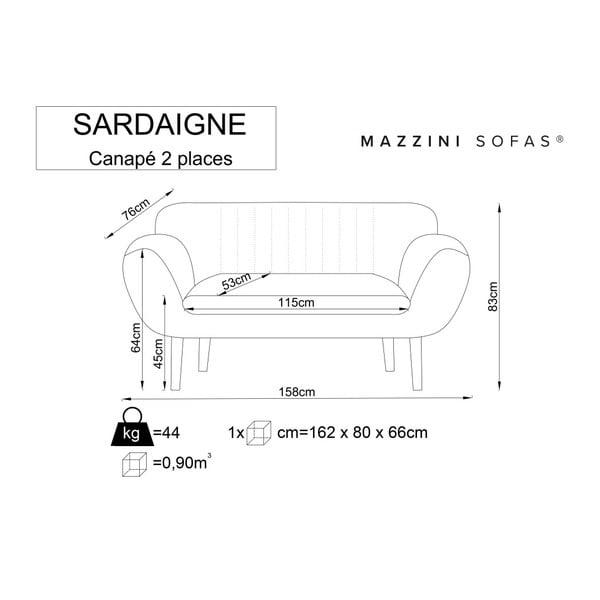 Šedá dvoumístná pohovka se světlými nohami Mazzini Sofas Sardaigne