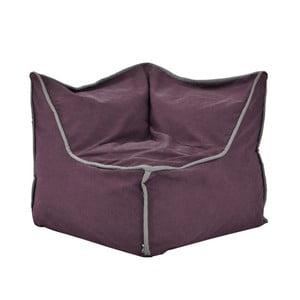 Fialový rohový modulový sedací vak se šedým lemem Poufomania Funky