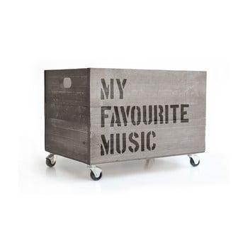 Cutie din lemn cu roți Really Nice Things Music, gri