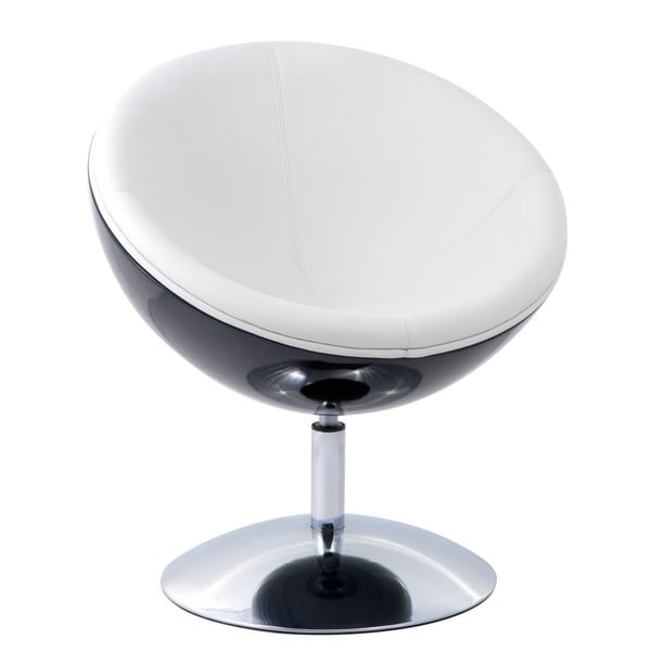 Otočná židle Mercury, černá/bílá