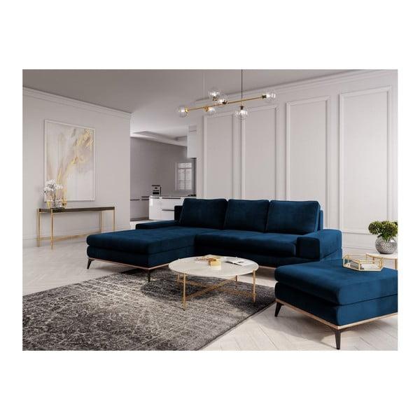 Královsky modrý puf se sametovým potahem Windsor & Co Sofas Astre