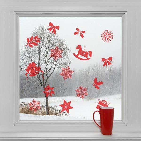 Elektrostatické vánoční samolepky Červené ozdůbky
