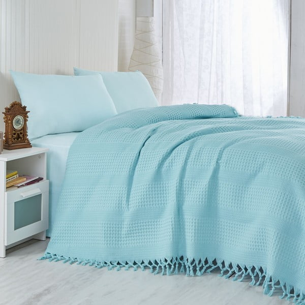 Cuvertură subțire de pat Turquoise, 220 x 240 cm, turcoaz