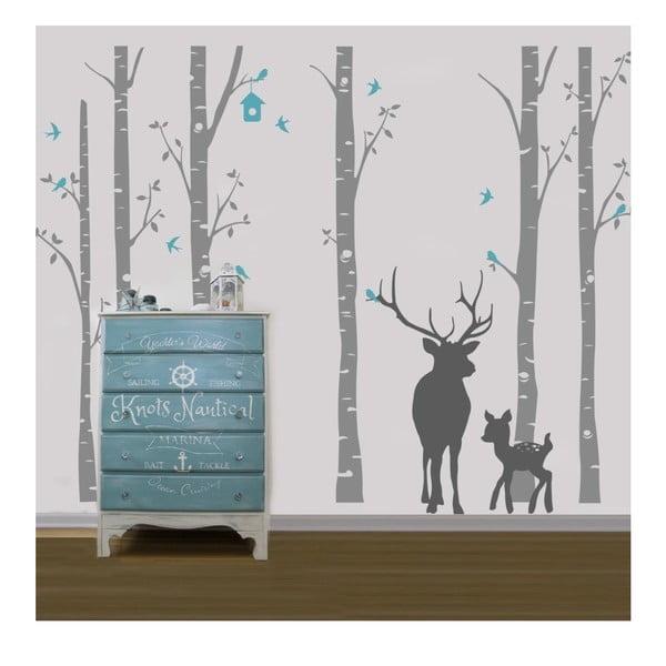 Autocolant de perete Deer Small & Big, gri
