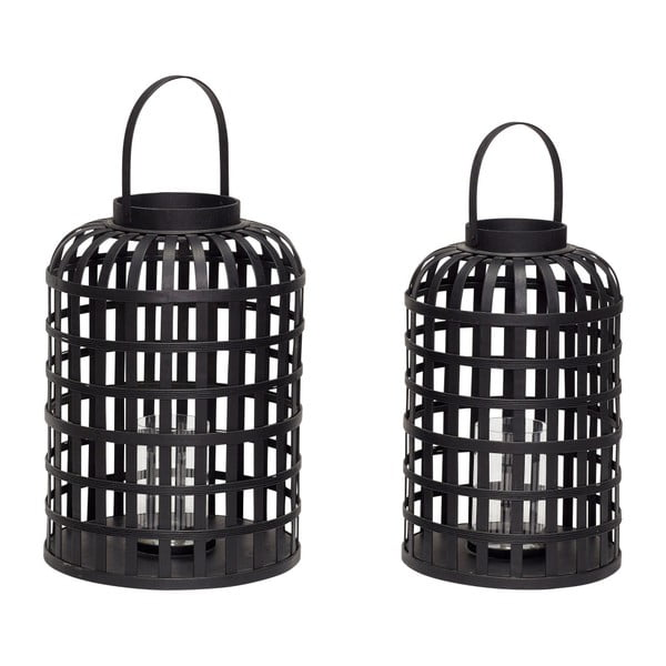 Komplet 2 czarnych bambusowych lampionów Hübsch Bamboo Garo