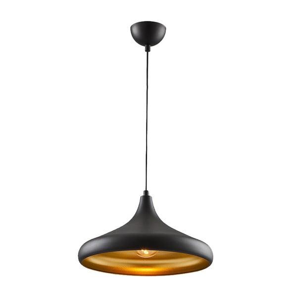 Černé závěsné svítidlo s detailem ve zlaté barvě Metal Black Heaven