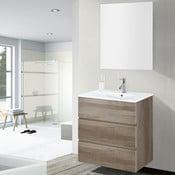 Koupelnová skříňka s umyvadlem a zrcadlem Nayade, dekor dubu, 60 cm