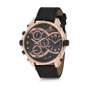 Pánské hodinky s černým koženým řemínkem Bigotti Milano Donald