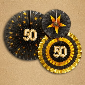 Set 3 decorațiuni din hârtie Neviti Glitz & Glamour 50 Goldie imagine