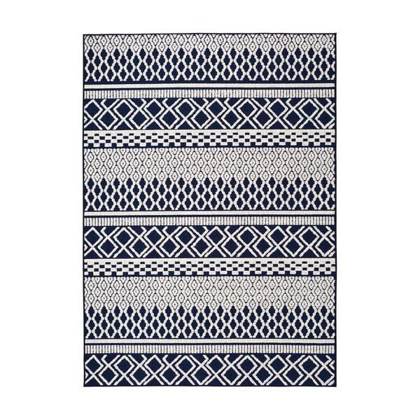 Modro-bílý venkovní koberec Universal Cannes ZigZag, 150 x 80 cm