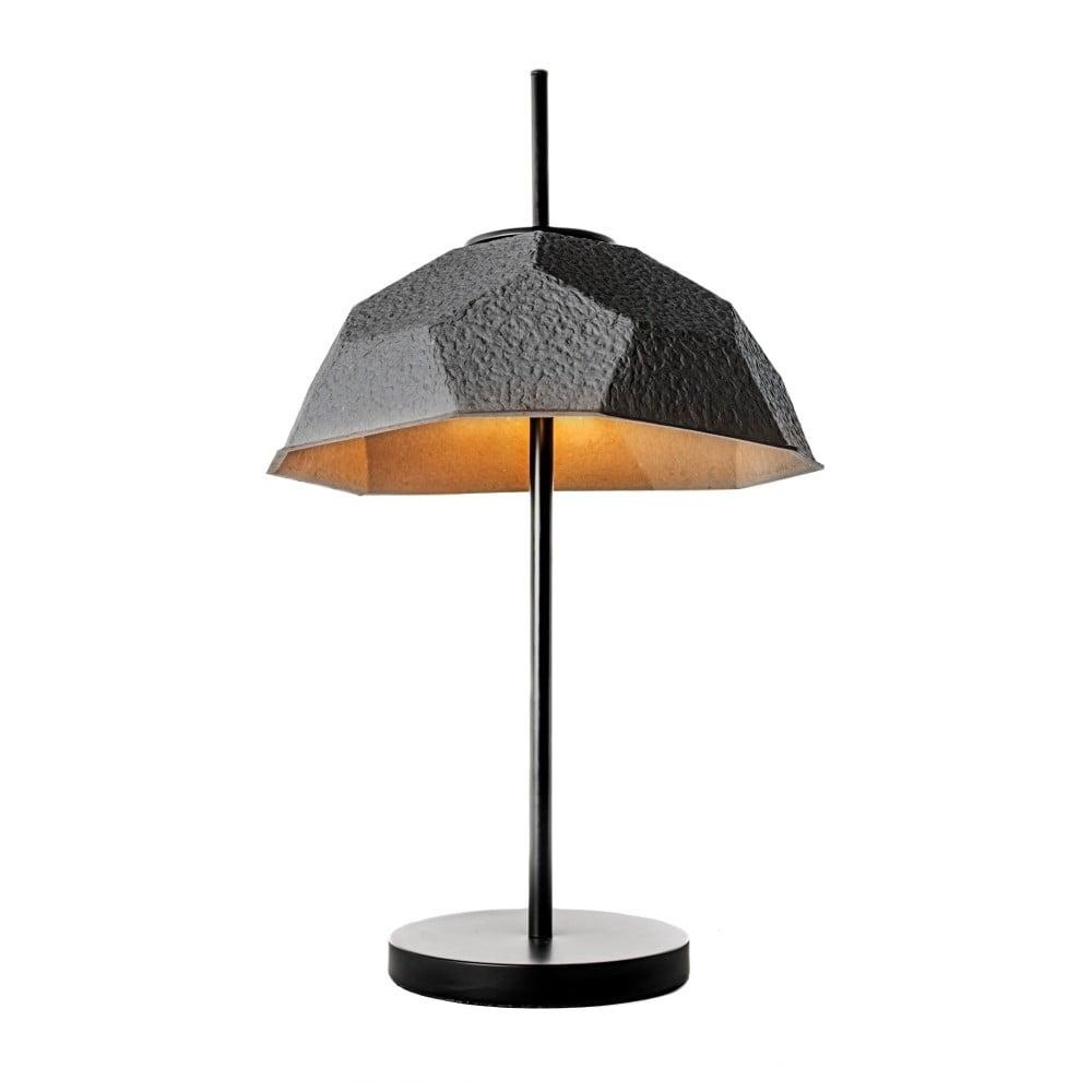 Černá stolní lampa se stínidlem z recyklovaného papíru Design Twist Mosen