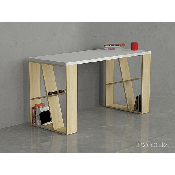 Kancelářský stůl Honey, bílá/dub