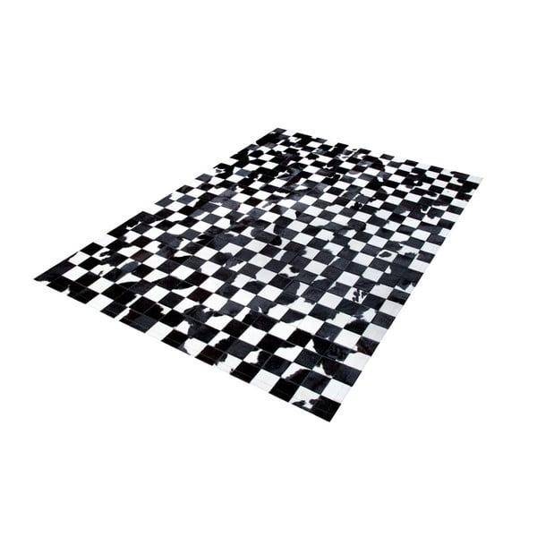 Černobílý koberec z pravé kůže Pipsa B&W, 140x200 cm