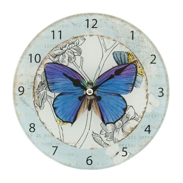 Nástěnné hodiny Blue Butterfly, 17 cm