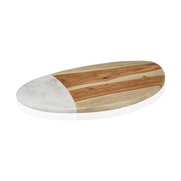 Mramorovo-dřevěné servírovací prkénko Woodie, 38 cm