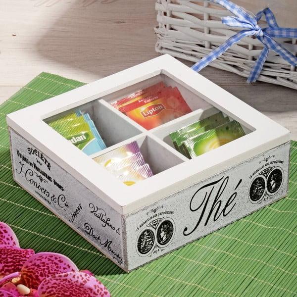 Bambusový box na čaj se 4 přihrádkami Division