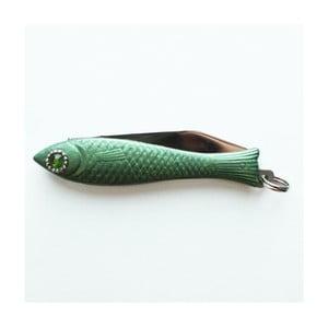 Český nožík rybička, zelený lak s krystalem v oku