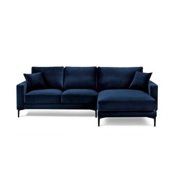 Colțar cu tapițerie din catifea și șezlong pe partrea dreaptă Kooko Home Harmony, albastru marin imagine