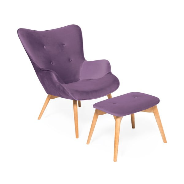 Fioletowy fotel z podnóżkiem i nogami w naturalnej barwie Vivonita Cora Velvet