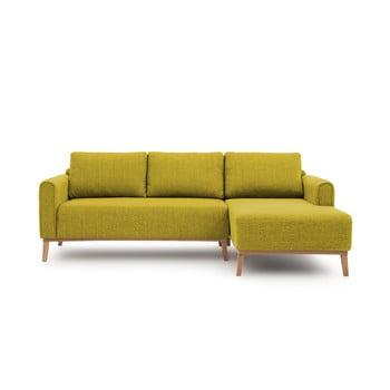 Canapea cu șezlong pe partea dreaptă Vivonita Milton, verde lime de la Vivonita
