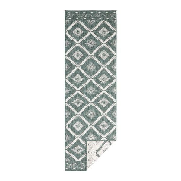 Covor reversibil adecvat interior/exterior Bougari Malibu, 250 x 80 cm, verde-crem
