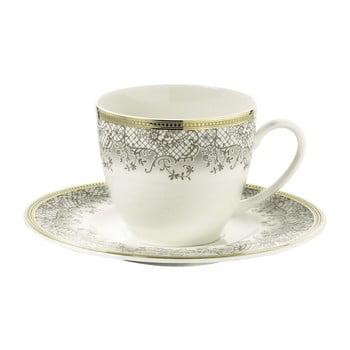Set 6 cești din porțelan pentru cafea cu farfurie Kutahya Prosper, 50 ml