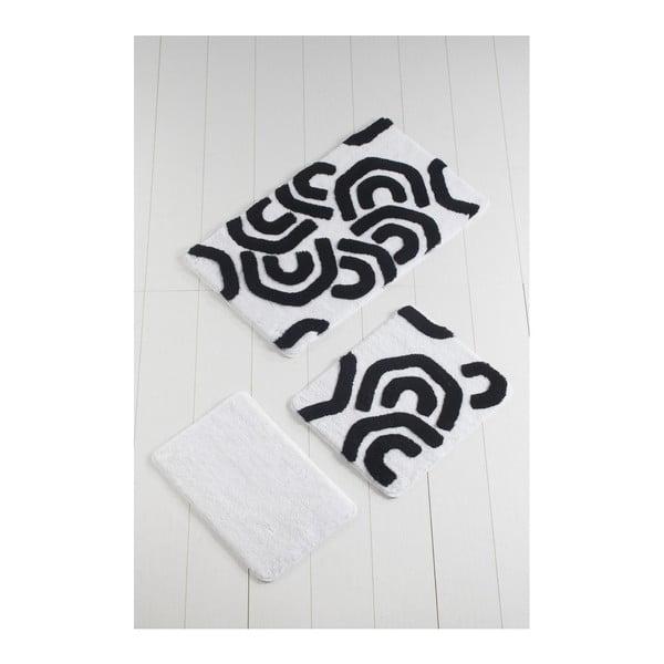 Komplet 3 czarno-białych dywaników łazienkowych Blackline