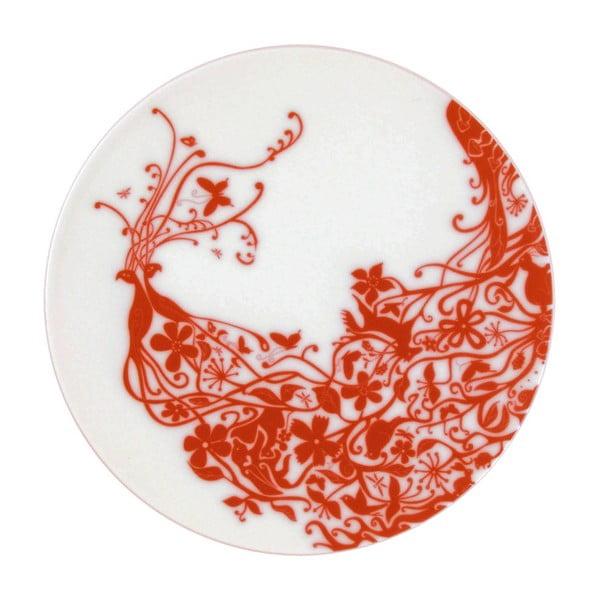 Sada 2 talířů Peacocks Red