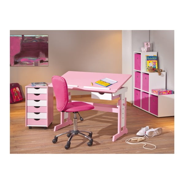 Růžový nastavitelný psací stůl 13Casa Paint