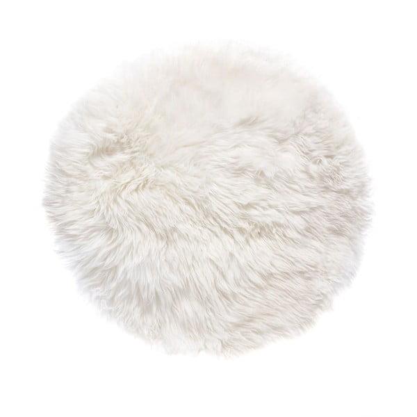 Bílý kulatý koberec z ovčí vlny Royal Dream Zealand,Ø70cm