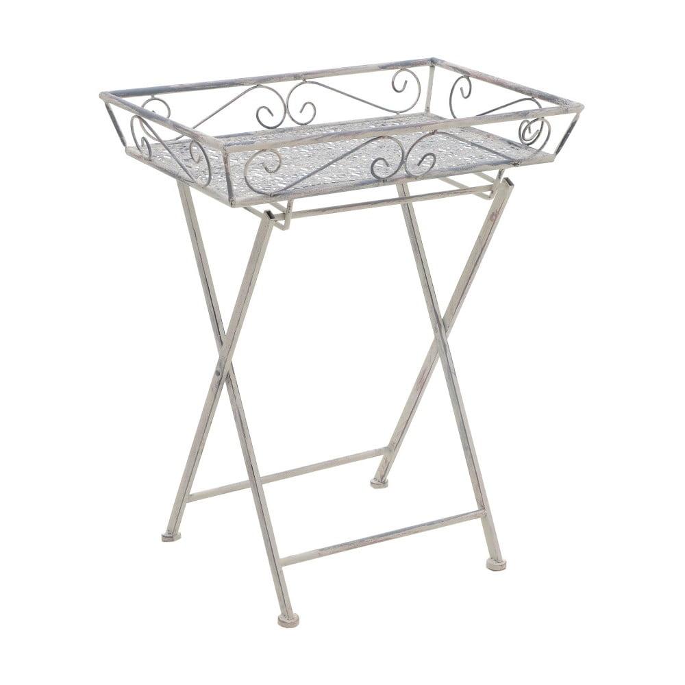 Šedý kovový příruční stolek InArt Antique, výška 74 cm