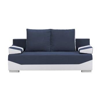 Canapea extensibilă cu 3 locuri și spațiu pentru depozitare Melart Marcel albastru închis - gri