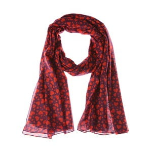 Šátek Multi Heart Red, 200x100 cm