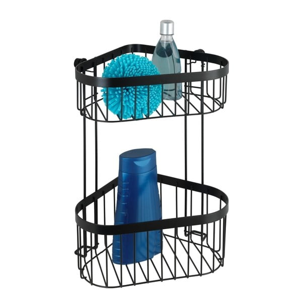 Czarny 2-poziomowy narożny koszyk ścienny Wenko Classic Plus